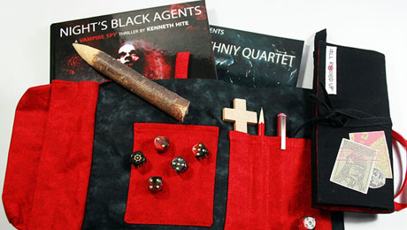 Night's Black Agents dicebag prototypes