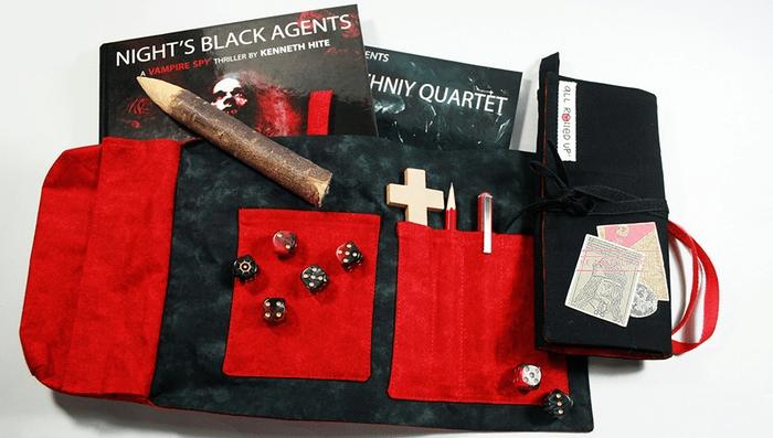 Night's Black Agents dicebag prototypes