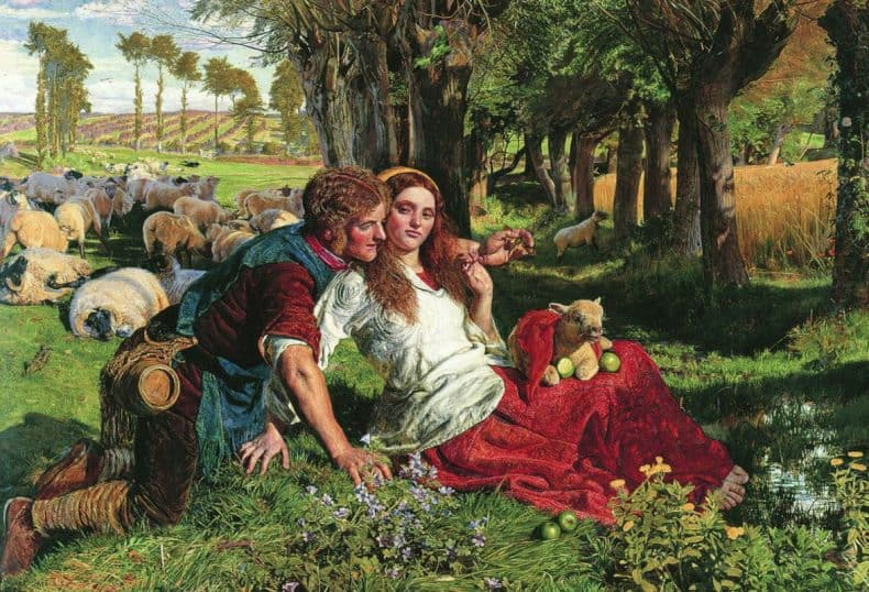 """The Hireling Shepherd"" by William Holman Hunt, 1851"