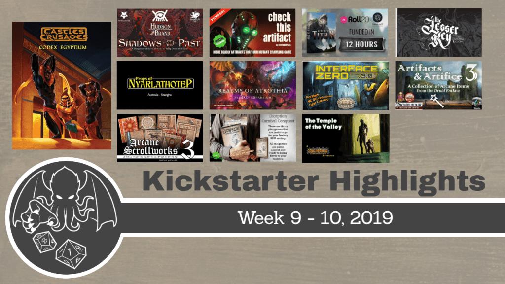 RPG Highlights on Kickstarter WK 9 - 10, 2019 - RPGames be